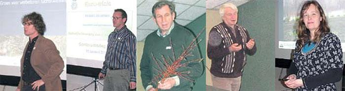 De vijf sprekers van de dag, van links naar rechts: Marco Hoffman, Ronald Houtman, Gerrit Mengerink, Piet de Jong en Margareth Hop Foto's: Koos Slob en Norman Kenny