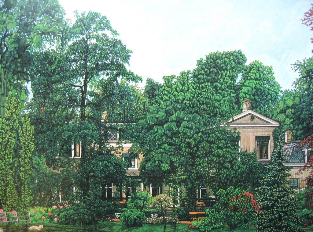 De tuinzijde van het oude huis aan de Honingerdijk, met een rijk gevarieerde collectie planten in 1920